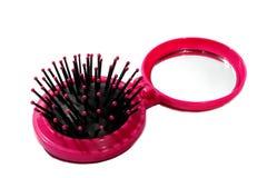 Розовые щетка и зеркало Стоковая Фотография RF
