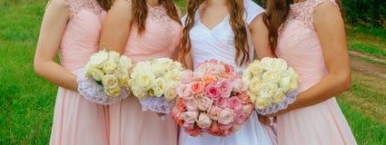 Розовые Posies Bridesmaid Стоковые Изображения RF
