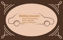 Розовый автомобиль на карточке рекламы Стоковая Фотография