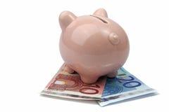 Банк свиньи от задней стороны на кредитках евро Стоковые Фотографии RF