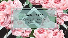 Розовый вектор карточки шаблона предпосылки цветков Реалистический дизайн 3D Стоковая Фотография