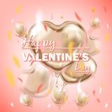 Розовый воздушный шар формы сердца сусального золота и счастливая литерность дня Святого Валентина бесплатная иллюстрация