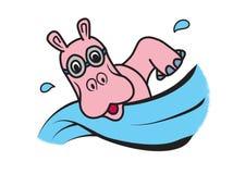 Розовый гиппопотам с изумлёнными взглядами плавая животная иллюстрация логотипа Стоковая Фотография