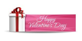 Розовый дизайн знамени с подарочной коробкой на день валентинок Стоковая Фотография
