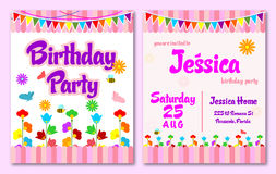 Розовый день рождения цветочного сада темы ягнится карточка приглашения Стоковое Фото