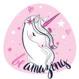 Розовый единорог сказки шаржа Стоковая Фотография