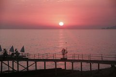 розовый заход солнца Стоковая Фотография RF