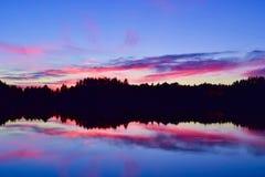 розовый заход солнца Стоковые Фотографии RF