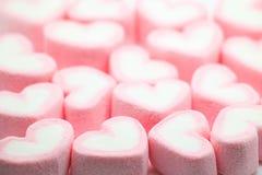 Розовый зефир на день валентинки как предпосылка и текстура Стоковая Фотография