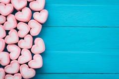 Розовый зефир формы сердца для темы влюбленности и backgr валентинки Стоковая Фотография