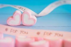 Розовый зефир формы сердца для темы влюбленности и backgr валентинки Стоковое Фото