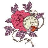 Розовый дизайн татуировки часов Стоковая Фотография
