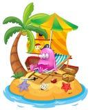 Розовый изверг пирата в острове иллюстрация вектора