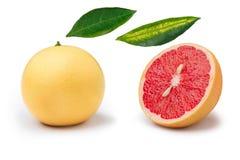 Розовый изолированные грейпфрут и части Стоковое Фото