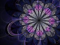 Розовый и голубой цветок фрактали Стоковое Фото