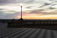Розовый и желтый заход солнца Стоковое Изображение