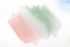 Розовый и зеленый градиент с ходами краски акварели Стоковые Фотографии RF