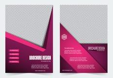 Розовый и фиолетовый дизайн рогульки шаблона брошюры иллюстрация штока