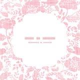 Розовый квадрат рамки птиц и цветков ткани Стоковое Изображение