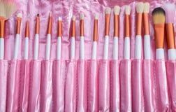Розовый комплект щетки состава Стоковые Фото