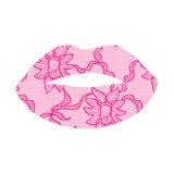 Розовый кружевной applique губ Стоковое Фото
