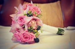 Розовый крупный план букета свадьбы Стоковое Изображение RF