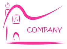 Розовый логотип имущества знака дома иллюстрация штока