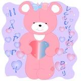 Розовый медведь с вектором сердец иллюстрация вектора