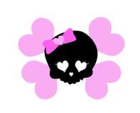 Розовый милый мотив черепа Стоковое Изображение