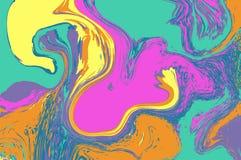 Розовый мраморизовать желтого зеленого цвета цифровой текстура мраморизованная конспектом Жидкостная абстракция краски иллюстрация штока