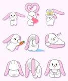 Розовый набор символов кролика уха стоковые изображения
