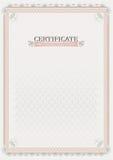 Розовый официальный сертификат документ Стоковая Фотография