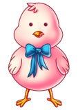 Розовый персонаж из мультфильма цыпленка пасхи Стоковое Изображение RF