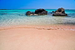 Розовый песок пляжа Elafonisi Стоковая Фотография