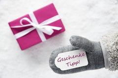 Розовый подарок, перчатка, Geschenke Tipp значит подсказку подарка Стоковые Изображения RF