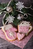Розовый пряник в форме чашки с какао Стоковое Изображение RF