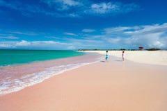 Розовый пляж песка Стоковое Изображение RF