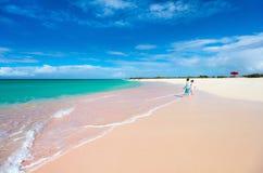 Розовый пляж песка Стоковая Фотография