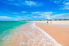 Розовый пляж песка Стоковые Фото