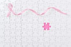 Розовый рак молочной железы частей ленты и головоломки Стоковое Фото