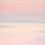 Розовый рассвет на море, крася Стоковое Изображение