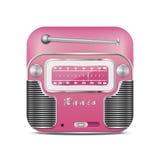 Розовый ретро значок радио Стоковое Изображение RF