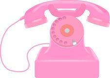 Розовый ретро телефон Иллюстрация вектора