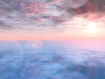 розовый романтичный заход солнца Стоковая Фотография