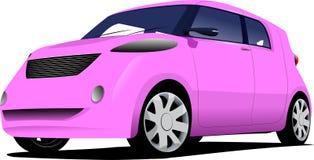 Розовый седан автомобиля на дороге иллюстрация штока