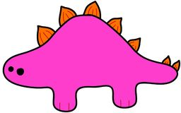 Розовый стегозавр - ребяческий чертеж Стоковые Фотографии RF