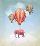 Розовый слон в небе Стоковое Изображение RF