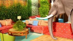 Розовый слон в переводе живущей комнаты 3d иллюстрация вектора