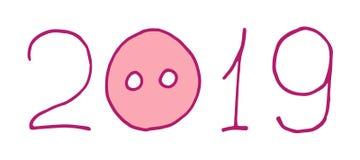 розовый текст 2019 Piggy нос поросенка С Новым Годом! символ Chinise Характер вектора doodle руки мультфильма вычерченный стоковое изображение rf