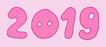 розовый текст 2019 Piggy нос поросенка С Новым Годом! символ Chinise Характер вектора doodle руки мультфильма вычерченный стоковые изображения